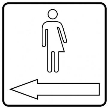 WC Toiletten Aufkleber | Transgender outline Pfeil links · weiß