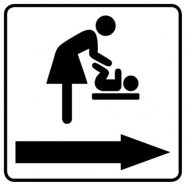 WC Toiletten Aufkleber   Wickelraum · Wickeltisch Pfeil rechts · weiß