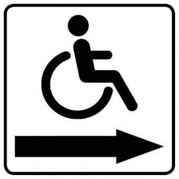 WC Toiletten Aufkleber | behindertengerecht · Rollstuhl Pfeil rechts · weiß