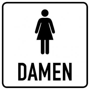 WC Toiletten Aufkleber | Piktogramm mit Text · Damen · weiß