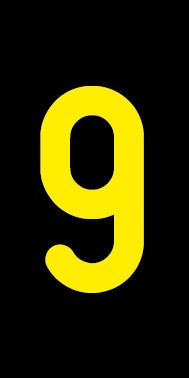 Aufkleber Einzelziffer 9 | gelb · schwarz