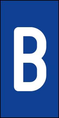 Aufkleber Einzelbuchstabe B | weiß · blau