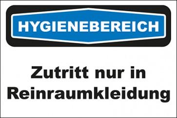 Hinweis-Aufkleber Hygienebereich Zutritt nur in Reinraumkleidung