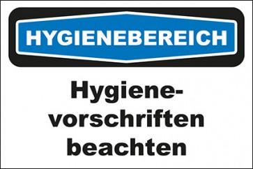 Hinweis-Aufkleber Hygienebereich Hygienevorschriften beachten