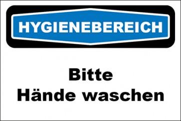 Hinweis-Aufkleber Hygienebereich Bitte Hände waschen
