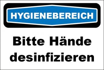Hinweis-Aufkleber Hygienebereich Bitte Hände desinfizieren
