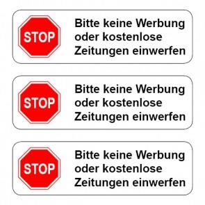 Briefkasten Aufkleber STOP, bitte keine Werbung ... TYP 1 | runde Ecken · weiß | stark haftend