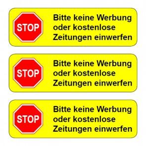 Aufkleber STOP, bitte keine Werbung ... TYP 2 | runde Ecken · gelb | stark haftend