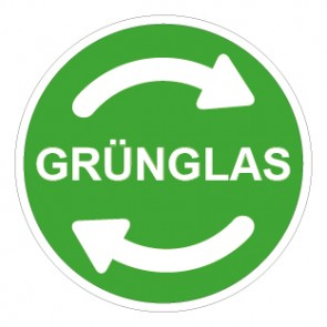 Aufkleber Recycling Wertstoff Mülltrennung Grünglas