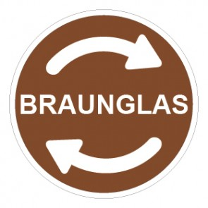 Aufkleber Recycling Wertstoff Mülltrennung Braunglas