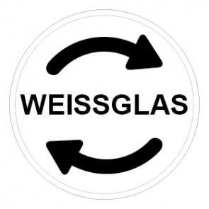 Aufkleber Recycling Wertstoff Mülltrennung Weissglas