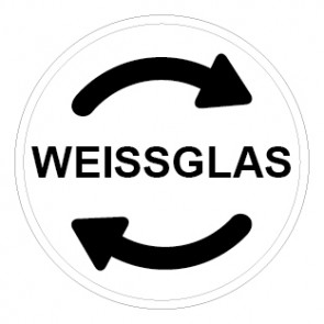 Schild Recycling Wertstoff Mülltrennung Weissglas