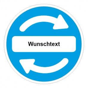 Schild Recycling Wertstoff Mülltrennung Wunschtext blau