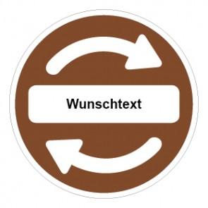 Schild Recycling Wertstoff Mülltrennung Wunschtext braun