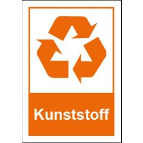 Schild Recycling Wertstoff Mülltrennung Kunststoff