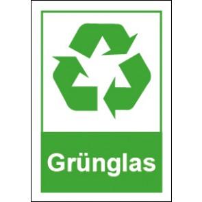 Schild Recycling Wertstoff Mülltrennung Grünglas