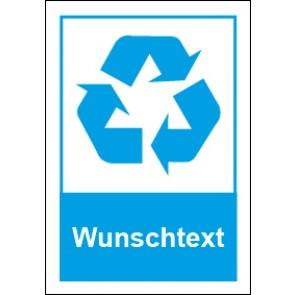 Magnetschild Recycling Wertstoff Mülltrennung Wunschtext blau