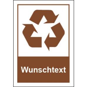 Magnetschild Recycling Wertstoff Mülltrennung Wunschtext braun