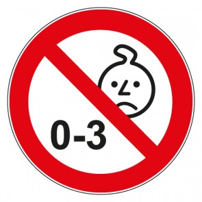 Aufkleber Verbotszeichen Nicht für Kinder unter 3 Jahren geeignet
