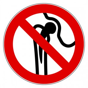 Aufkleber Verbotszeichen Verbot für Personen mit Implantaten aus Metall