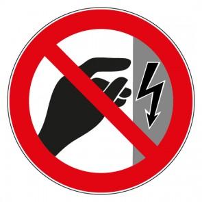Aufkleber Verbotszeichen Nicht berühren Gehäuse steht unter Spannung