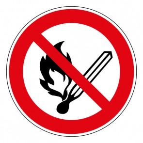 Schild Verbotszeichen Keine offene Flamme; Feuer, offene Zündquelle und Rauchen verboten · ISO 7010 P003