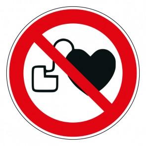 Schild Verbotszeichen Kein Zutritt für Personen mit Herzschrittmachern oder implantierten Defibrillatoren · ISO 7010 P007