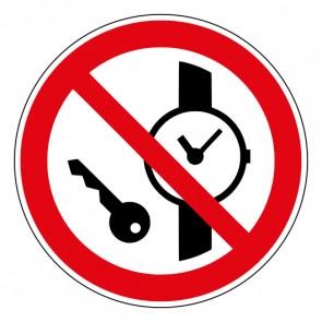 Schild Verbotszeichen Mitführen von Metallteilen oder Uhren verboten · ISO 7010 P008