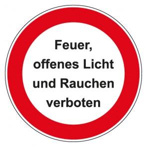 Aufkleber Verbotszeichen rund mit Text Feuer offenes Licht und Rauchen verboten