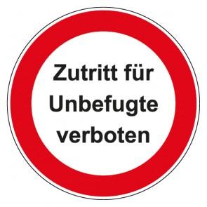 Aufkleber Verbotszeichen rund mit Text Zutritt für Unbefugte verboten