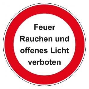 Schild Verbotszeichen rund mit Text Feuer Rauchen und offenes Licht verboten