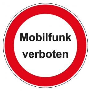 Aufkleber Verbotszeichen rund mit Text Mobilfunk verboten
