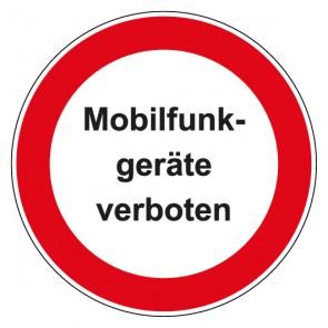 Aufkleber Verbotszeichen rund mit Text Mobilfunk Geräte verboten