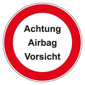 Aufkleber Verbotszeichen rund mit Text Achtung Airbag Vorsicht