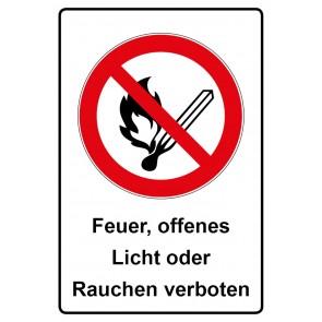 Kombi Aufkleber Feuer offenes Licht oder Rauchen verboten