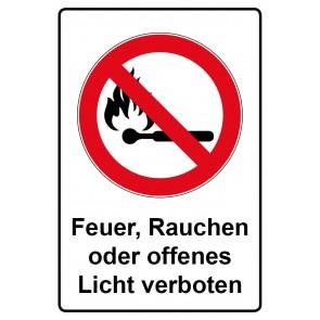 Kombi Aufkleber Feuer Rauchen und offenes Licht verboten
