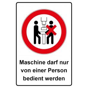 Kombi Aufkleber Maschine darf nur von einer Person bedient werden