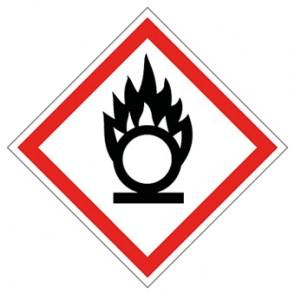 GHS Aufkleber Flamme über Kreis, entzündend wirkende Stoffe