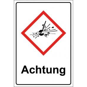 GHS Zeichen mit Text Bombe, explosive Stoffe Achtung · MAGNETSCHILD