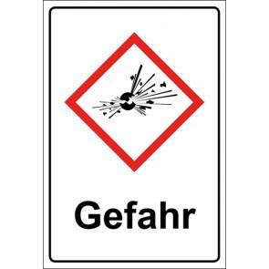 GHS Kombiaufkleber Bombe, explosive Stoffe Gefahr