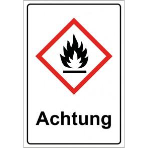 GHS Zeichen mit Text Flamme, entzündbare Stoffe Achtung · MAGNETSCHILD