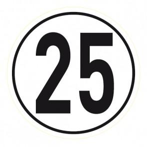 Geschwindigkeitsaufkleber 25 km/h