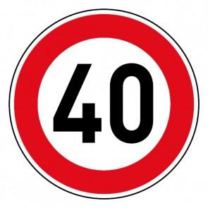 Geschwindigkeitsszeichen Tempo Limit 40 km/h Schild · Magnetschild - Magnetfolie
