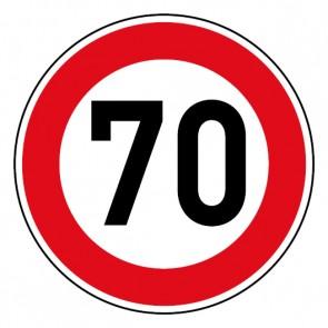 Geschwindigkeitsaufkleber Tempolimit 70 km/h