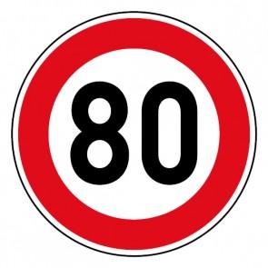 Geschwindigkeitsaufkleber Tempolimit 80 km/h