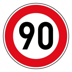 Geschwindigkeitsszeichen Tempo Limit 90 km/h Schild