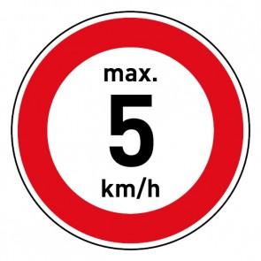 Geschwindigkeitszeichen Tempolimit max. 5 km/h · Magnetschild - Magnetfolie