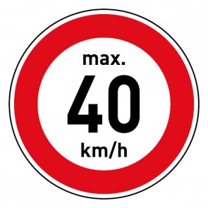 Geschwindigkeitszeichen Tempolimit max. 40 km/h · Magnetschild - Magnetfolie