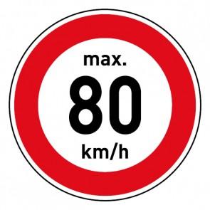 Geschwindigkeitszeichen Tempolimit max. 80 km/h · Magnetschild - Magnetfolie