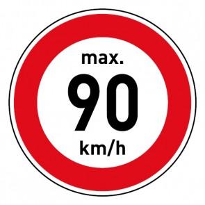 Aufkleber Geschwindigkeitszeichen Tempolimit max. 90 km/h